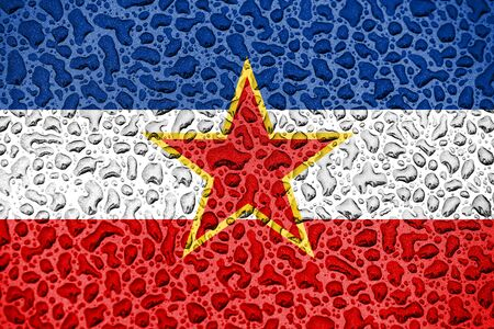 Yugoslavia national flag made of water drops. Background forecast season concept. Фото со стока