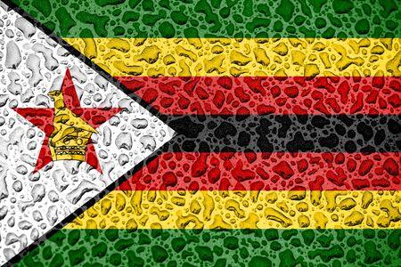 Zimbabwe national flag made of water drops. Background forecast season concept.