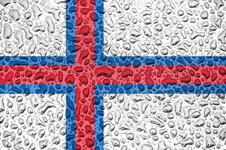 Faroe Islands national flag made of water drops. Background forecast season concept. Фото со стока