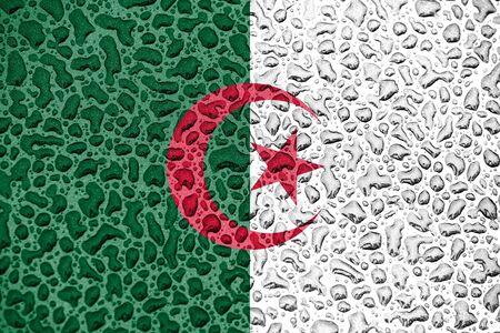 Algeria national flag made of water drops. Background forecast season concept. Фото со стока