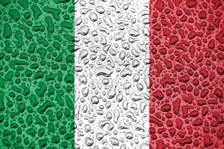 Italy national flag made of water drops. Background forecast season concept.