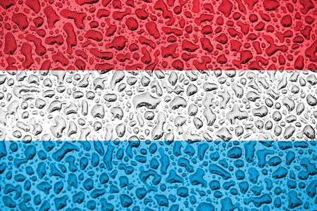 Luxembourg national flag made of water drops. Background forecast season concept. Stockfoto