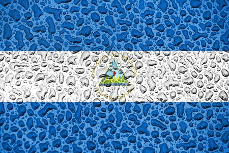 Nicaragua national flag made of water drops. Background forecast season concept.
