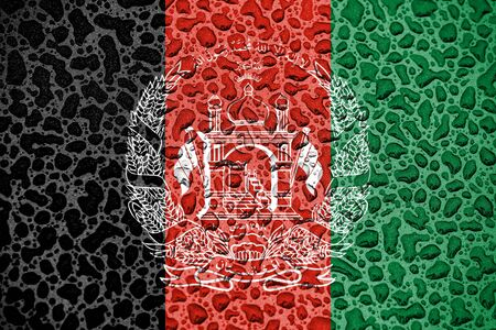 Afghanistan national flag made of water drops. Background forecast season concept.