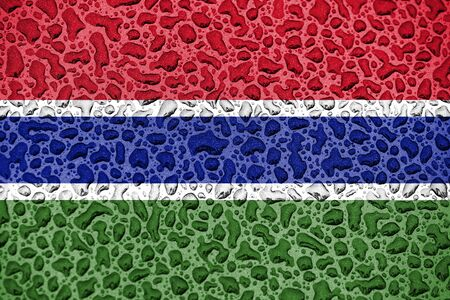Gambia national flag made of water drops. Background forecast season concept.