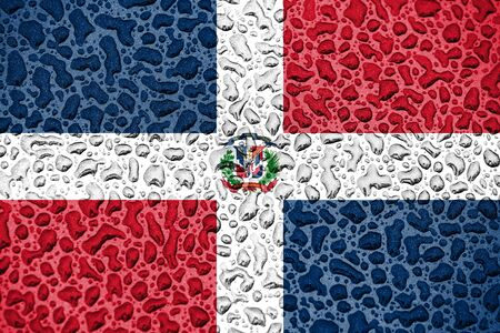 Dominican Republic national flag made of water drops. Background forecast season concept.