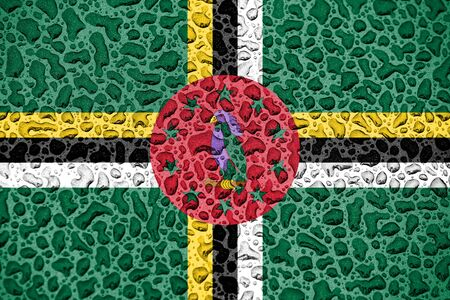 Dominica national flag made of water drops. Background forecast season concept.