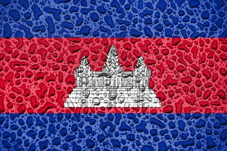 Cambodia national flag made of water drops. Background forecast season concept.