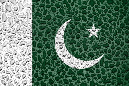 Pakistan national flag made of water drops. Background forecast season concept. Imagens