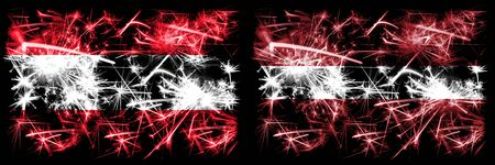 Austria, Austrian, Latvia, Latvian sparkling fireworks concept and idea flags 版權商用圖片