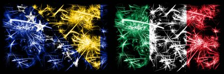 Bosnia and Herzegovina, Bosnian, Italy, Italian sparkling fireworks concept and idea flags Stock fotó