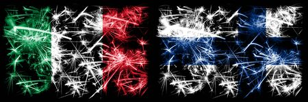 Italy, Italian, Finland, Finnish, flip sparkling fireworks concept and idea flags