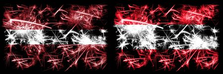 Latvia, Latvian, Austria, Austrian sparkling fireworks concept and idea flags