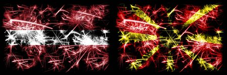 Latvia, Latvian, Macedonia, Macedonian sparkling fireworks concept and idea flags