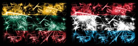 Lithuania, Luxembourg sparkling fireworks concept and idea flags Stockfoto