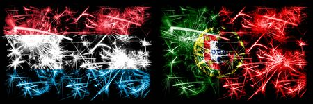 Luxembourg, Portugal sparkling fireworks concept and idea flags Stockfoto