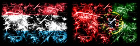 Luxembourg, Portugal, flip sparkling fireworks concept and idea flags Stockfoto