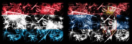 Luxembourg, Serbia, flip sparkling fireworks concept and idea flags
