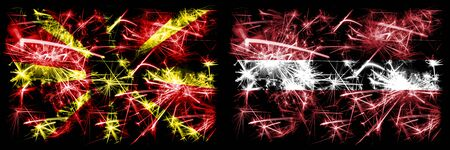 Macedonia, Macedonian, Latvia, Latvian sparkling fireworks concept and idea flags
