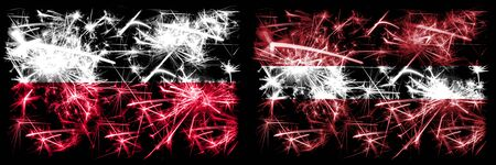 Poland, Polish, Latvia, Latvian sparkling fireworks concept and idea flags