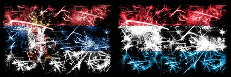 Serbia, Luxembourg sparkling fireworks concept and idea flags