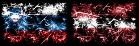 Slovenia, Slovenian, Latvia, Latvian sparkling fireworks concept and idea flags