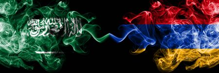 Saudi Arabia Kingdom vs Armenia, Armenian smoky mystic flags placed side by side. Thick colored silky smoke flags of Arabic, Arabian and Armenia, Armenian