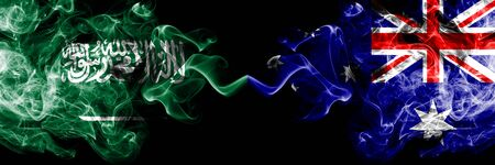 Saudi Arabia Kingdom vs Australia, Australian smoky mystic flags placed side by side. Thick colored silky smoke flags of Arabic, Arabian and Australia, Australian