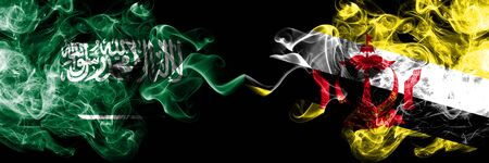 Saudi Arabia Kingdom vs Brunei, Bruneian smoky mystic flags placed side by side. Thick colored silky smoke flags of Arabic, Arabian and Brunei, Bruneian Banco de Imagens