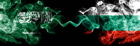 Saudi Arabia Kingdom vs Bulgaria, Bulgarian smoky mystic flags placed side by side. Thick colored silky smoke flags of Arabic, Arabian and Bulgaria, Bulgarian Banco de Imagens