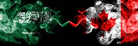 Saudi Arabia Kingdom vs Canada, Canadian smoky mystic flags placed side by side. Thick colored silky smoke flags of Arabic, Arabian and Canada, Canadian Banco de Imagens