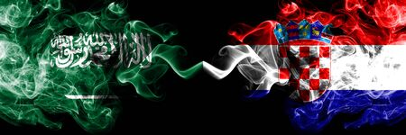 Saudi Arabia Kingdom vs Croatia, Croatian smoky mystic flags placed side by side. Thick colored silky smoke flags of Arabic, Arabian and Croatia, Croatian