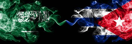 Saudi Arabia Kingdom vs Cuba, Cuban smoky mystic flags placed side by side. Thick colored silky smoke flags of Arabic, Arabian and Cuba, Cuban