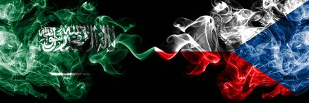 Saudi Arabia Kingdom vs Czech Republic smoky mystic flags placed side by side. Thick colored silky smoke flags of Arabic, Arabian and Czech Republic