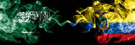 Saudi Arabia Kingdom vs Ecuador, Ecuadorian smoky mystic flags placed side by side. Thick colored silky smoke flags of Arabic, Arabian and Ecuador, Ecuadorian