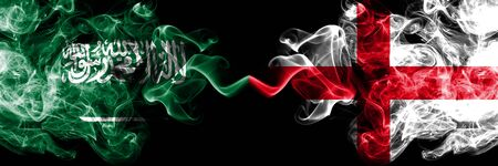 Saudi Arabia Kingdom vs England, English smoky mystic flags placed side by side. Thick colored silky smoke flags of Arabic, Arabian and England, English Banco de Imagens