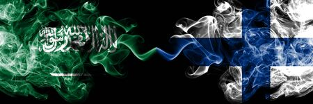 Saudi Arabia Kingdom vs Finland, FInnish smoky mystic flags placed side by side. Thick colored silky smoke flags of Arabic, Arabian and Finland, FInnish