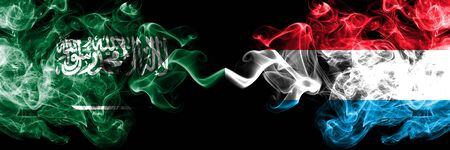 Saudi Arabia Kingdom vs Luxembourg smoky mystic flags placed side by side. Thick colored silky smoke flags of Arabic, Arabian and Luxembourg
