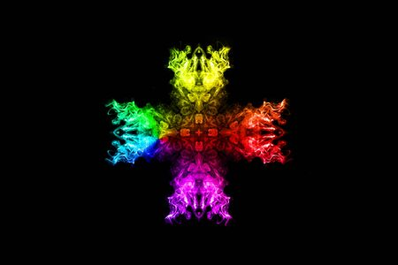 Abstract rainbow smoke cross isolated on black background