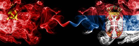 Communist vs Serbia, Serbian abstract smoky mystic flags placed side by side. Thick colored silky smoke flags of Communism and Serbia, Serbian