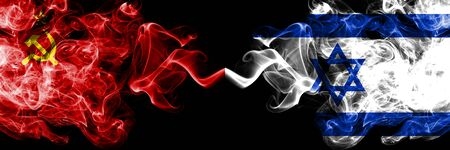 Communist vs Israel, Israeli abstract smoky mystic flags placed side by side. Thick colored silky smoke flags of Communism and Israel, Israeli