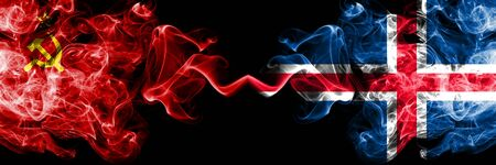 Communist vs Iceland, Icelandic abstract smoky mystic flags placed side by side. Thick colored silky smoke flags of Communism and Iceland, Icelandic Standard-Bild