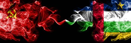 Communist vs Central African Republic abstract smoky mystic flags placed side by side. Thick colored silky smoke flags of Communism and Central African Republic