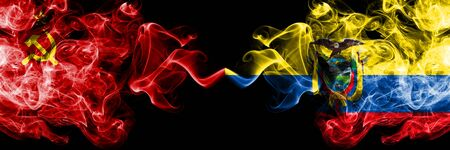 Communist vs Ecuador, Ecuadorian abstract smoky mystic flags placed side by side. Thick colored silky smoke flags of Communism and Ecuador, Ecuadorian