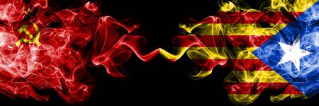 Communist vs Catalonia, Spain abstract smoky mystic flags placed side by side. Thick colored silky smoke flags of Communism and Catalonia, Spain
