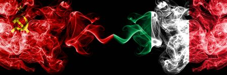 Communist vs Italy, Italian abstract smoky mystic flags placed side by side. Thick colored silky smoke flags of Communism and Italy, Italian 版權商用圖片 - 130148495