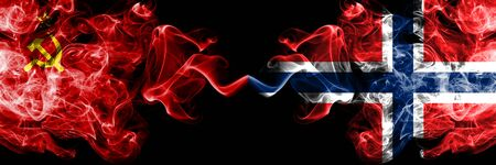 Communist vs Norway, Norwegian abstract smoky mystic flags placed side by side. Thick colored silky smoke flags of Communism and Norway, Norwegian