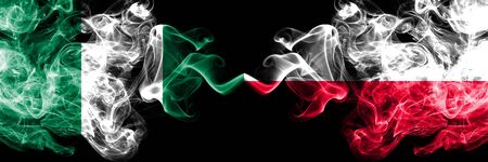 Nigeria vs Poland, Polish abstract smoky mystic flags placed side by side. Thick colored silky smoke flags of Nigerian and Poland, Polish Banco de Imagens