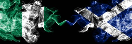 Nigeria vs Scotland, Scottish abstract smoky mystic flags placed side by side. Thick colored silky smoke flags of Nigerian and Scotland, Scottish
