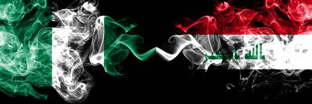 Nigeria vs Iraq, Iraqi abstract smoky mystic flags placed side by side. Thick colored silky smoke flags of Nigerian and Iraq, Iraqi Banco de Imagens